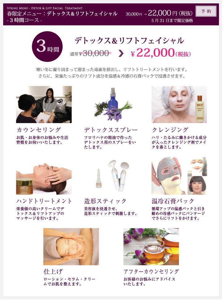 デトックス&リフトフェイシャル(3hrsコース)¥22,000